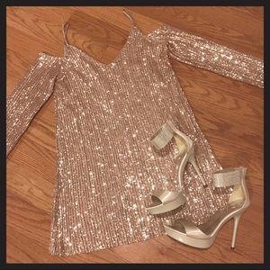 Zara pink sequin open shoulder dress size small